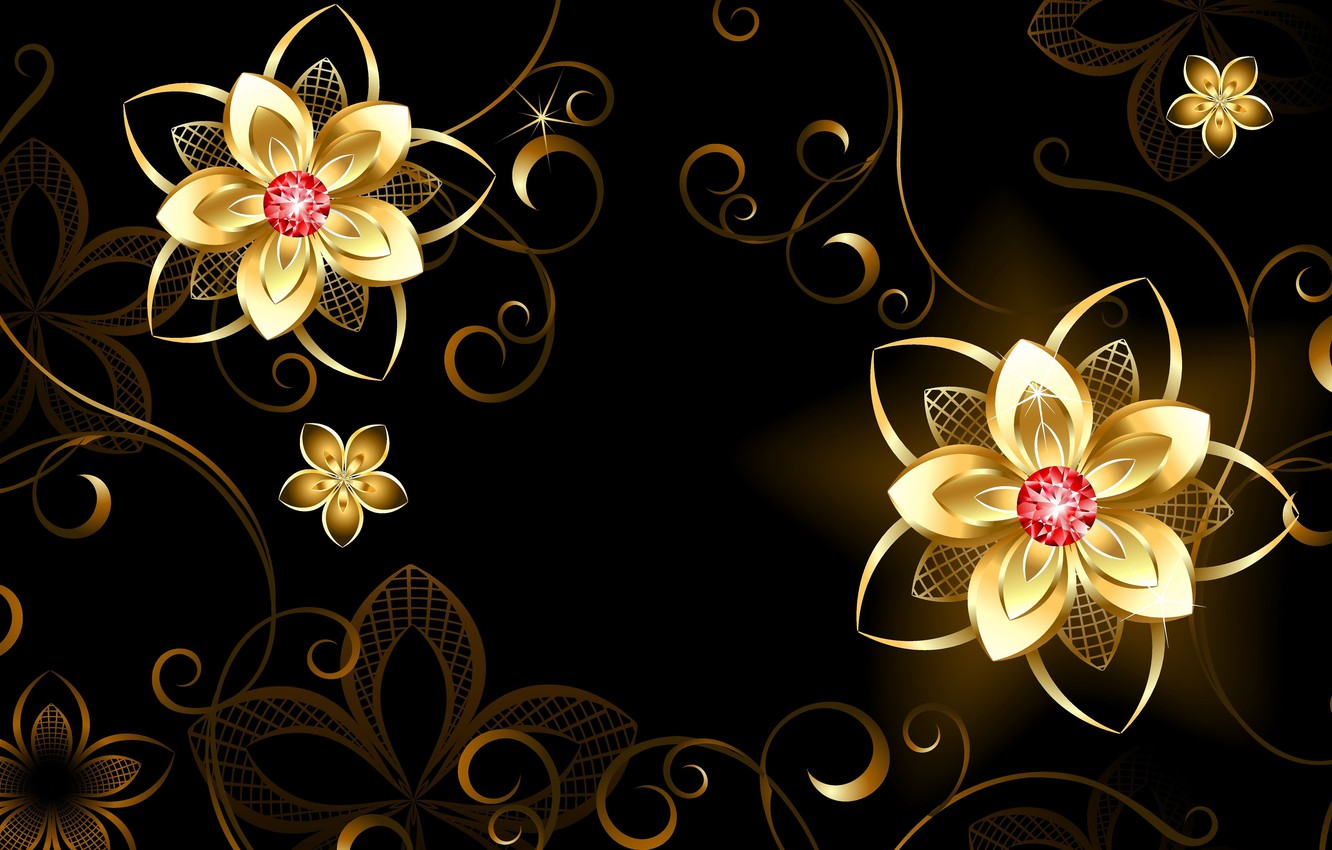 Photo wallpaper flowers, background, patterns, 3D Graphics