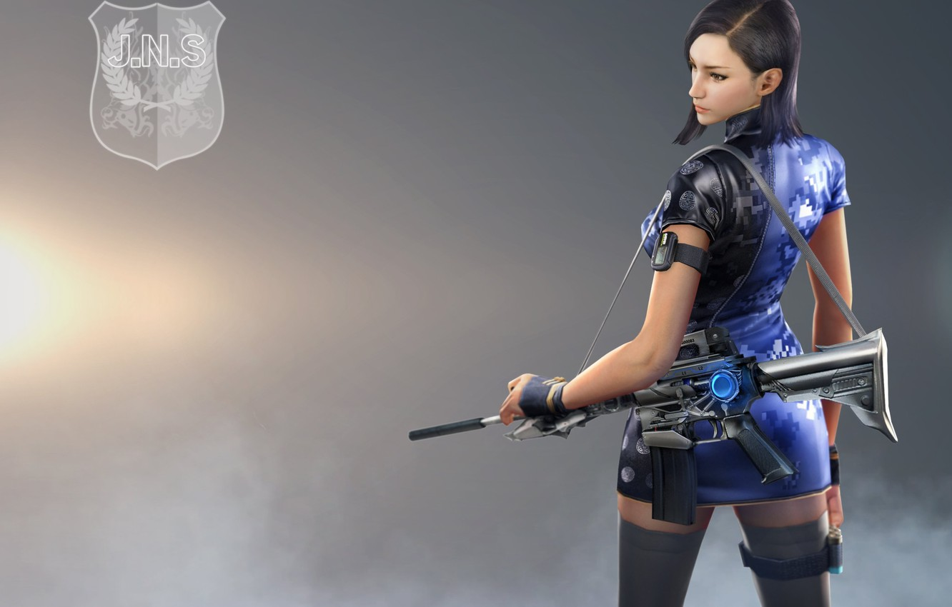 Photo wallpaper insignia, girl, dress, woman, blue, charger, coat, brunette, Orchid, asian, rifle, m4a1, shield, pantyhose, chinese, …