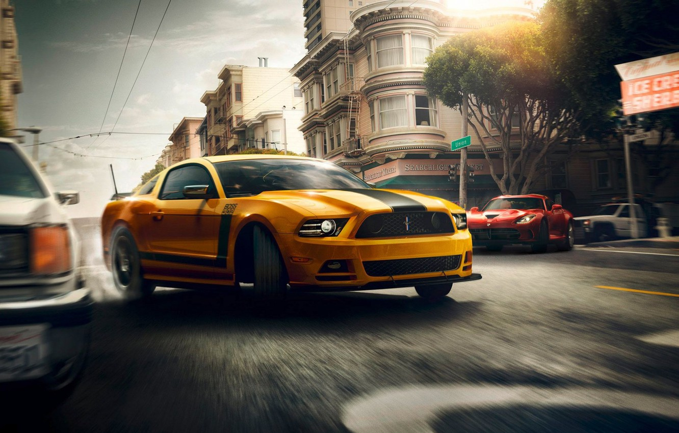 Photo wallpaper Mustang, Ford, Muscle, Dodge, Red, Car, Viper, Speed, Front, Sun, Street, San Francisco, Yellow, 302, …