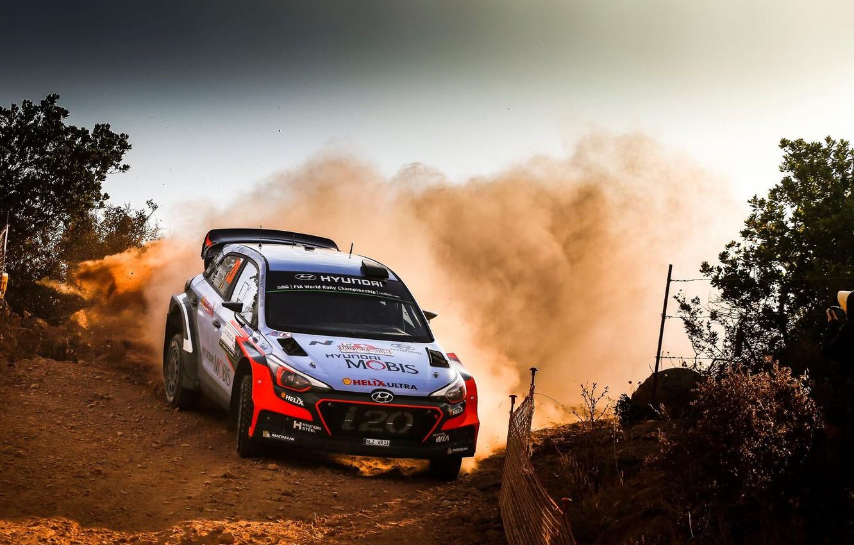 Photo wallpaper Dust, Skid, Hyundai, WRC, Rally, i20