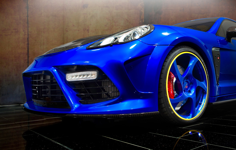 Photo wallpaper machine, blue, lights, tuning, Porsche, Panamera, drives, the front, Turbo, Mansory