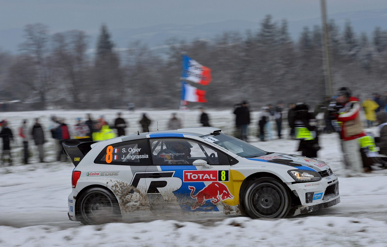Photo wallpaper Winter, Auto, White, Snow, Sport, Volkswagen, Machine, People, Red Bull, WRC, Rally, Rally, Side view, …