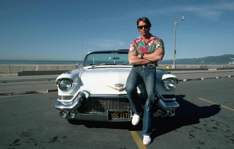 Photo wallpaper machine, Cadillac, sneakers, terminator, Jock, Cadillac, Arnold Schwarzenegger, young, Terminator, ARNOLD SCHWARZENEGGER