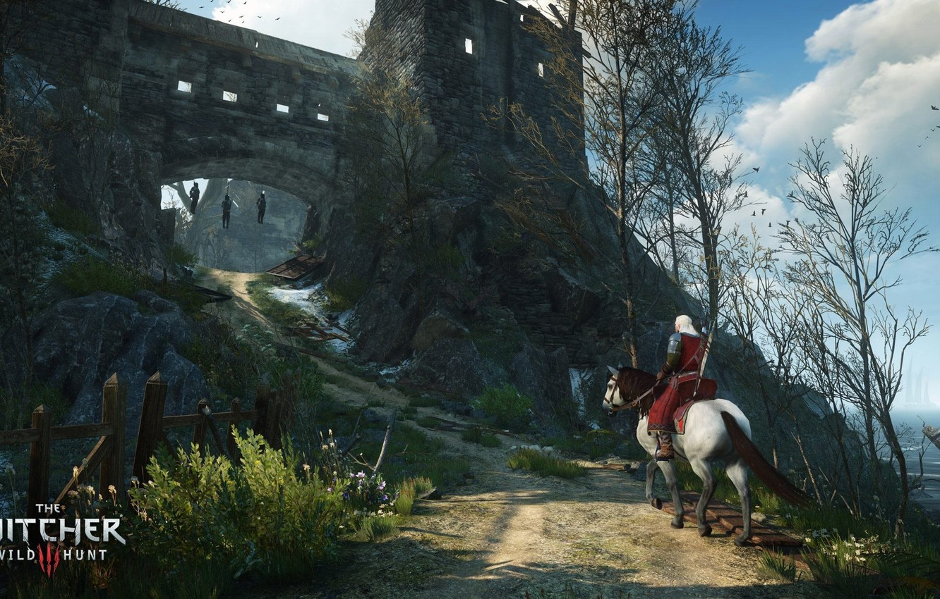 Photo wallpaper the sky, trees, horse, the game, fortress, game, the Witcher, Geralt, The Witcher 3: Wild …