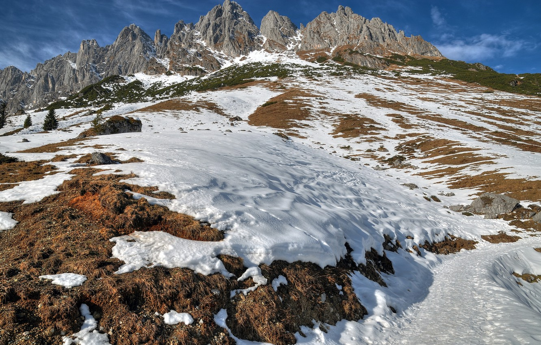 Photo wallpaper snow, mountains, nature, Austria, Salzburg, Mandlwand