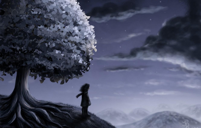 Photo wallpaper stars, clouds, night, tree, people, hill, art