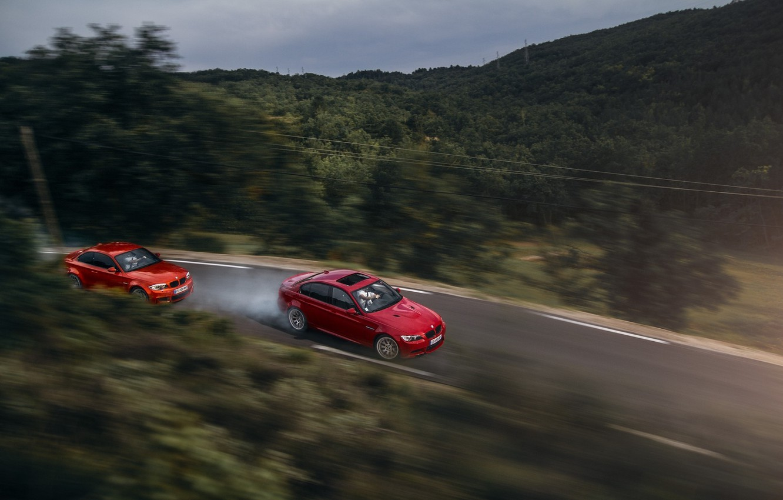 Photo wallpaper BMW, Orange, Red, Race, Cars, Drifting