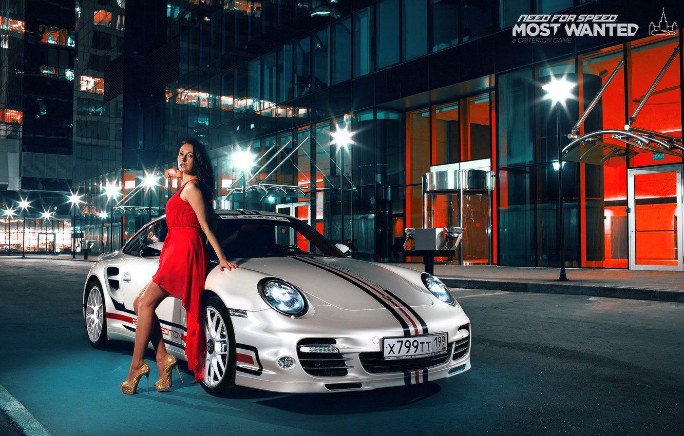 Photo wallpaper 911, Porsche, dress, brunette, turbo, nfs, most wanted, smotra