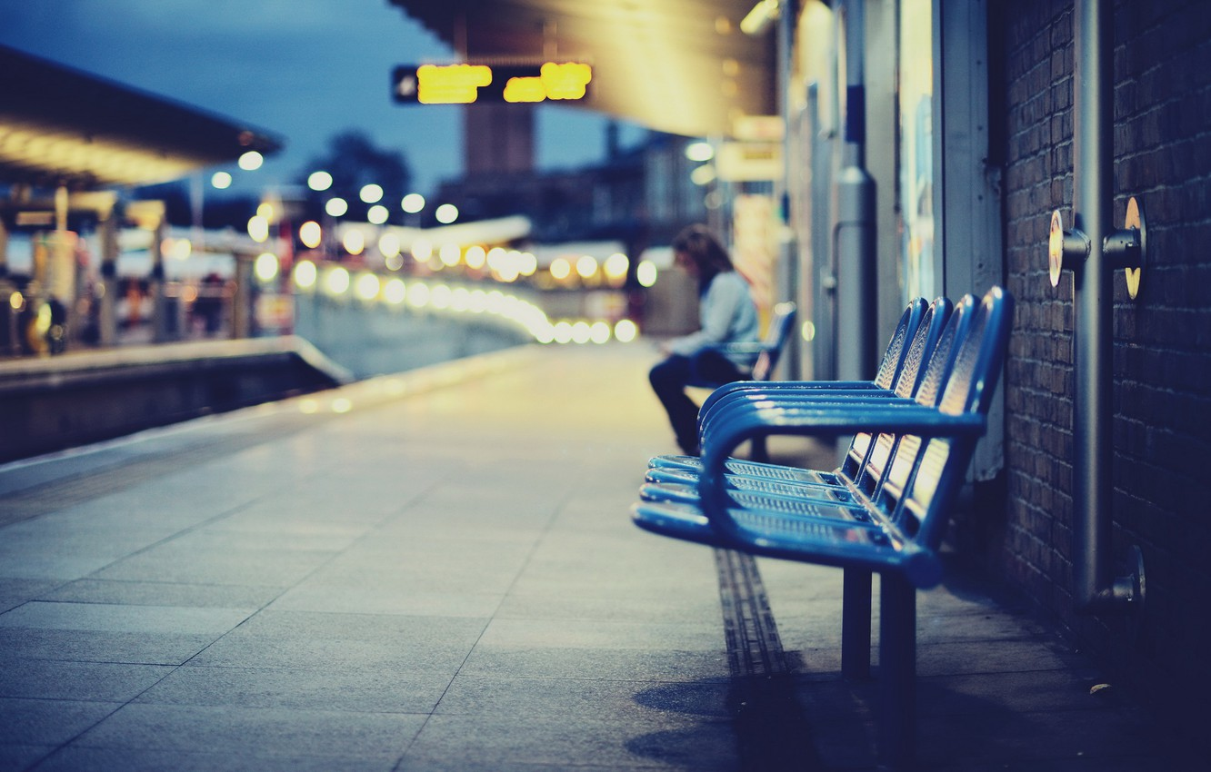 Photo wallpaper the city, station, chairs
