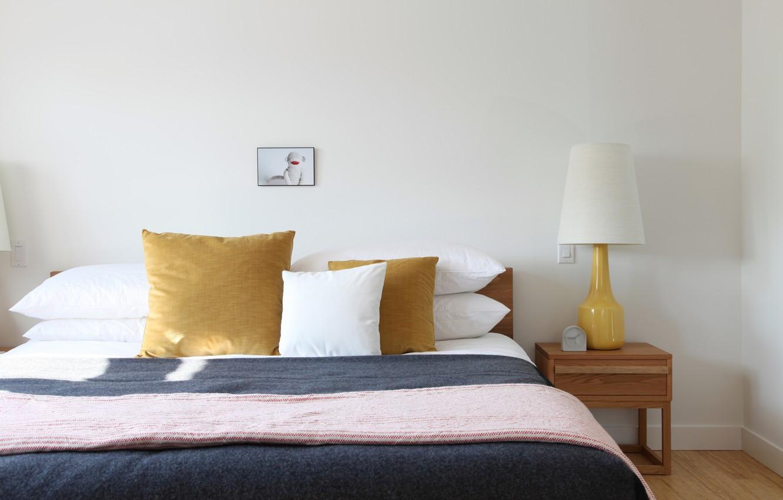 Photo wallpaper lamp, bed, pillow