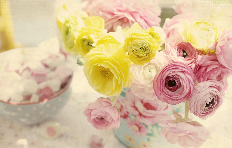 Photo wallpaper flowers, tenderness, vase, Ranunculus