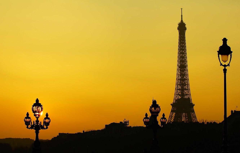 Photo wallpaper France, Paris, tower, silhouette, lights