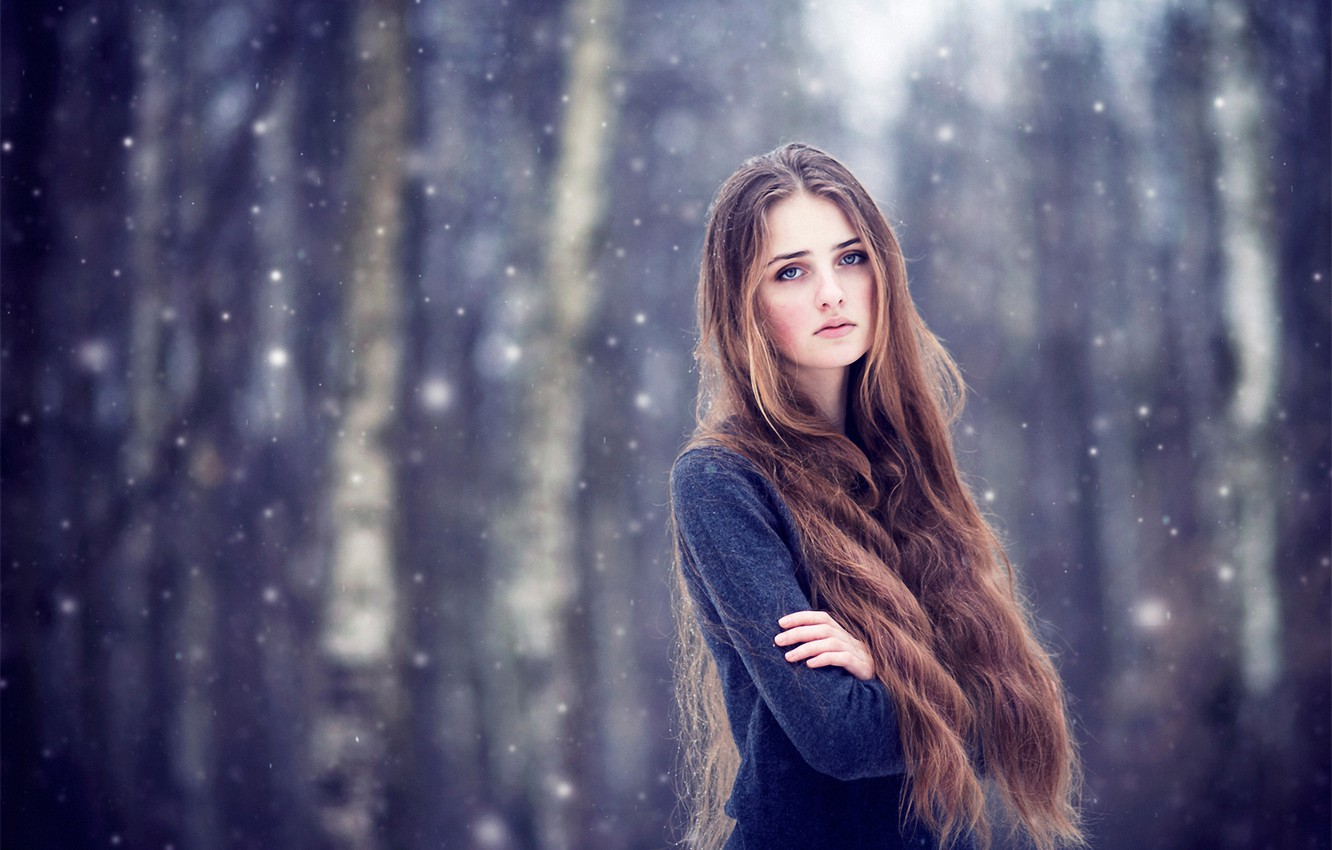 Wallpaper Girl Snow Brown Hair Long Haired Images For Desktop Section Devushki Download