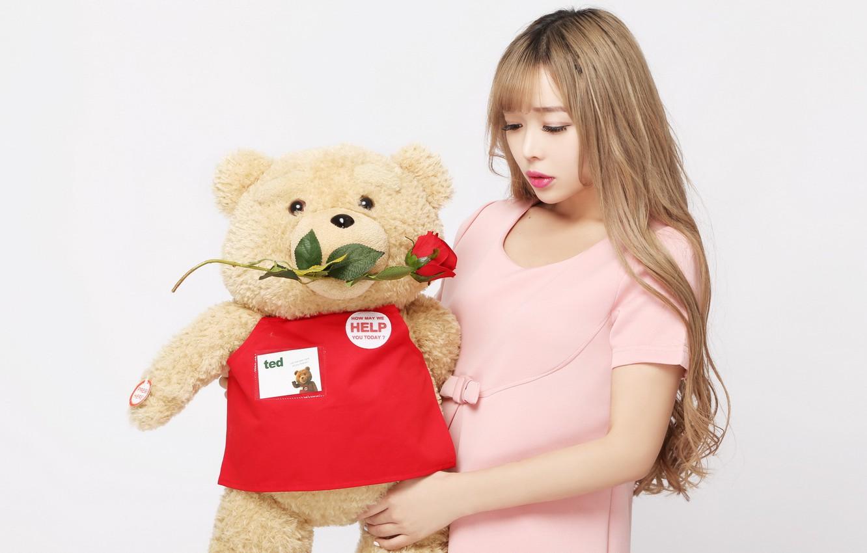 Photo wallpaper girl, mood, toy, rose, bear