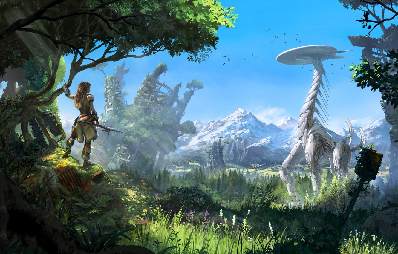 Photo wallpaper The sky, Girl, Mountains, Robot, Trees, Bow, Hunter, PlayStation 4, Sony Computer Entertainment, Guerrilla Games, …