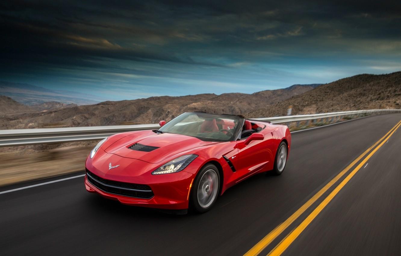 Photo wallpaper Red, Road, Mountains, Corvette, Chevrolet, Machine, Speed, Red, Car, Speed, Convertible, Stingray, Corvette, Chevrolet