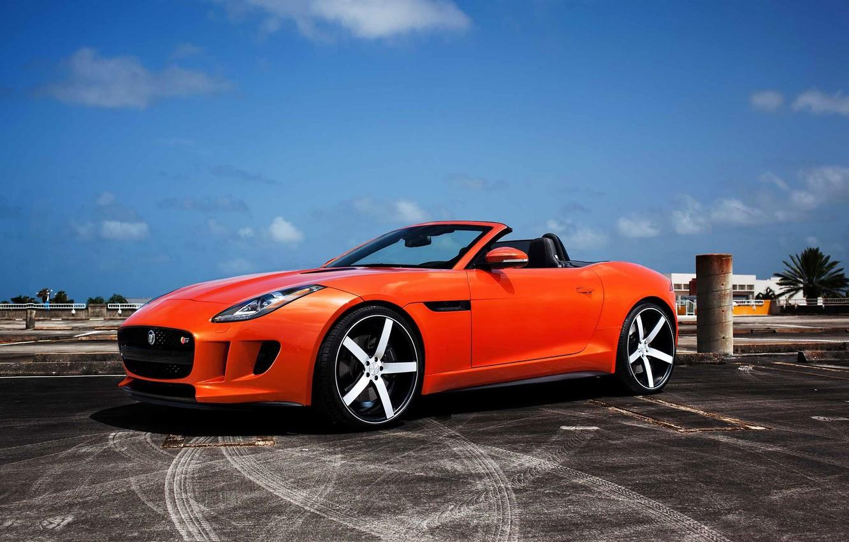 Photo wallpaper Jaguar, Orange, F TypeR