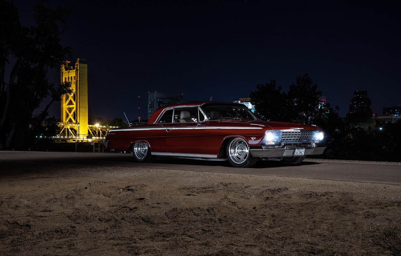 Photo wallpaper Chevrolet, Night, Impala, 1962
