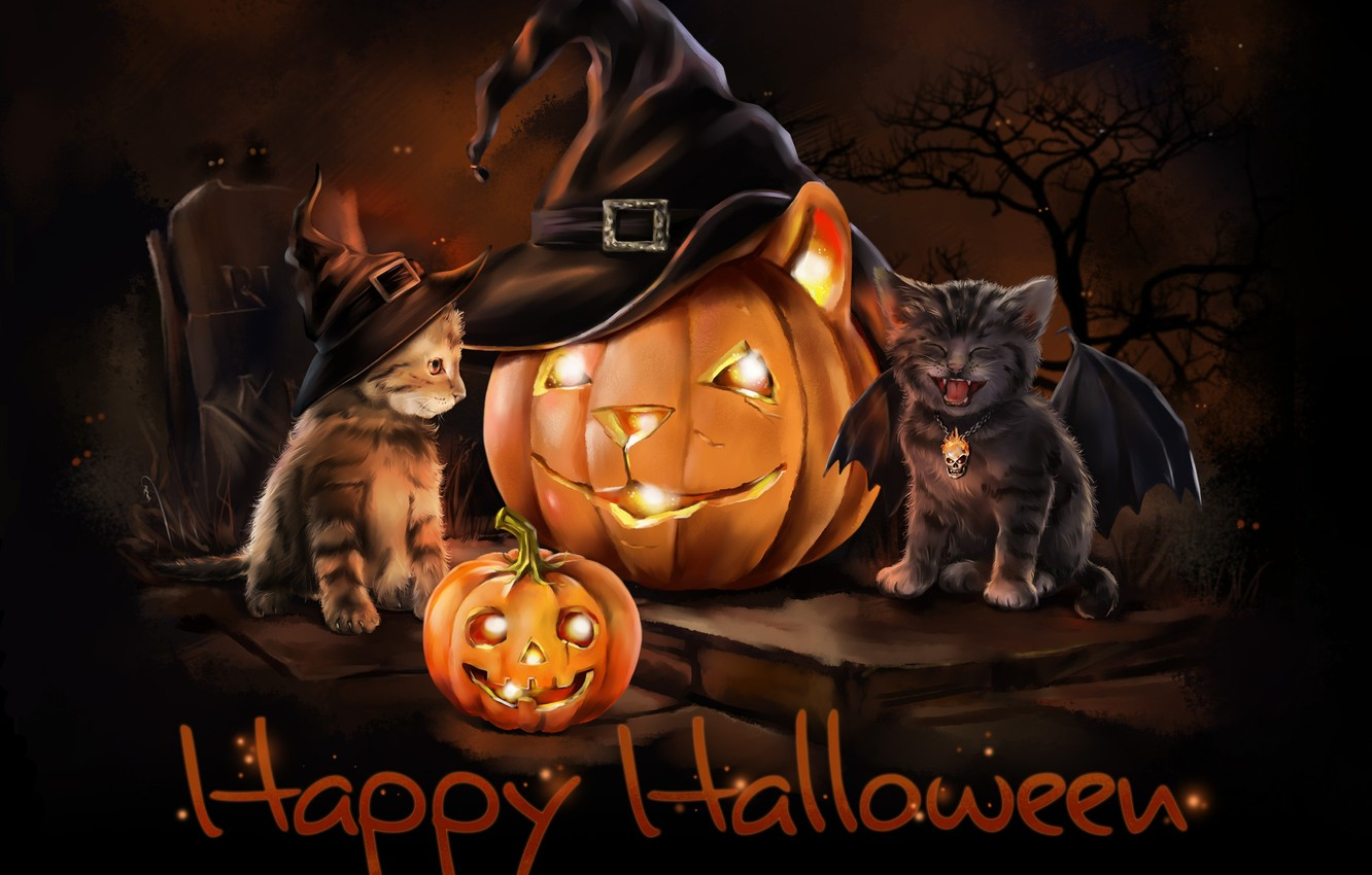 Photo wallpaper night, holiday, wings, hat, art, kittens, pumpkin, Halloween, children's, lorri kajenn the