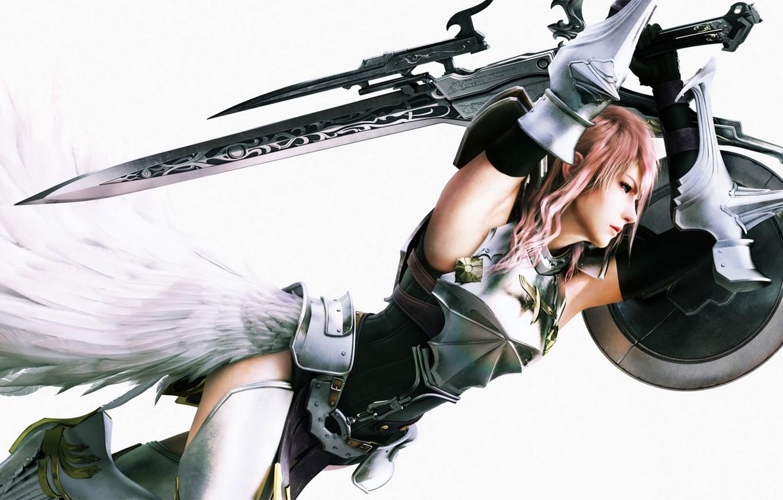 Photo wallpaper sword, armor, shield, Final Fantasy, Final Fantasy XIII-2