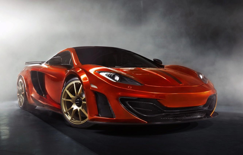 Photo wallpaper orange, background, tuning, smoke, McLaren, supercar, tuning, MP4-12C, the front, Mansory, McLaren