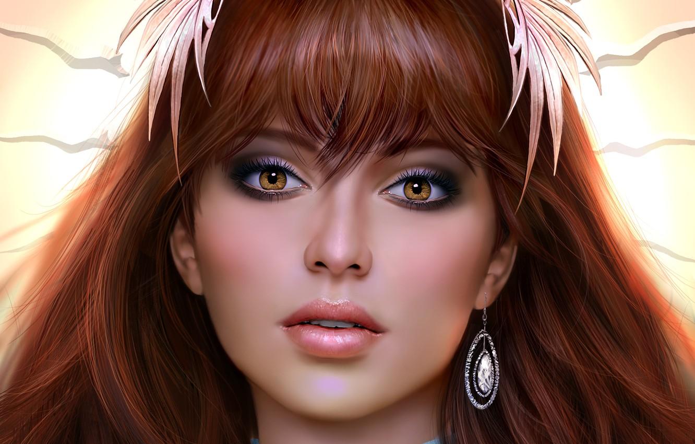 Photo wallpaper look, girl, art, earring, brown eyes