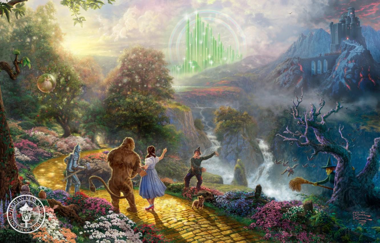 Photo wallpaper castle, the film, cartoon, fantasy, painting, dog, characters, Thomas Kinkade, painting, castle, film, Thomas Kinkade, …