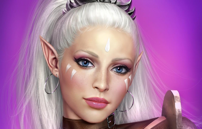 Photo wallpaper eyes, look, girl, face, hair, elf, art, antalya