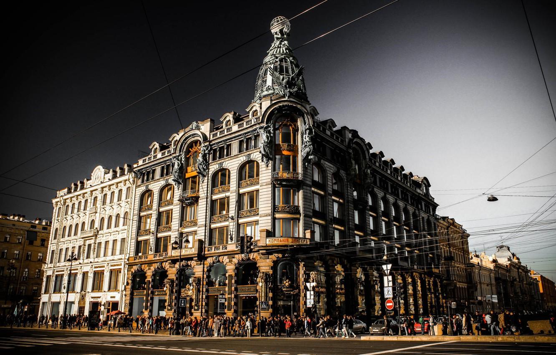 Photo wallpaper the sky, clouds, Russia, Peter, Saint Petersburg, St. Petersburg, Nevsky Prospekt, Company Singer