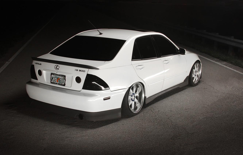 Photo wallpaper road, white, tuning, Lexus, white, road, tuning, Lexus, night, back, is300