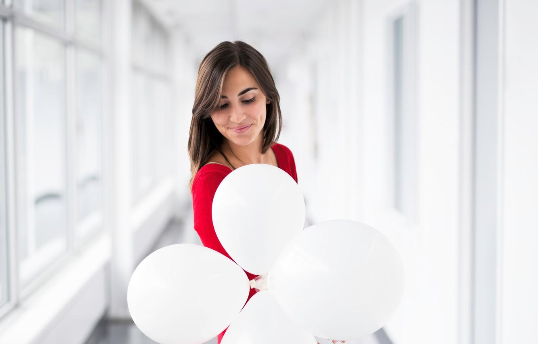 Photo wallpaper girl, smile, balloons