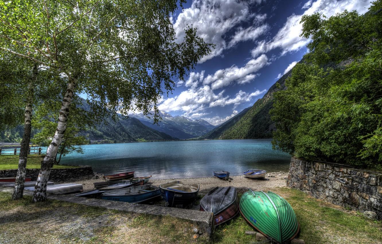 Photo wallpaper clouds, trees, mountains, lake, shore, boats, Switzerland, hdr, Lake Poschiavo
