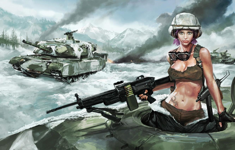 Photo wallpaper girl, snow, tank, machine gun