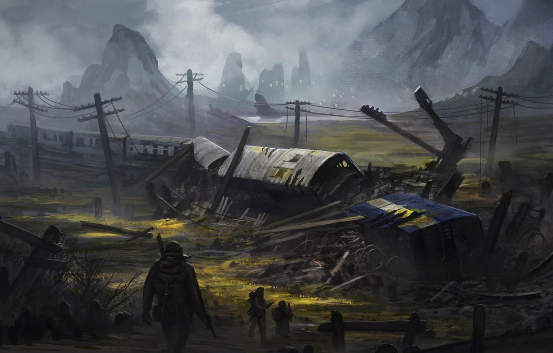 Photo wallpaper crash, war, train, soldiers, pustosh