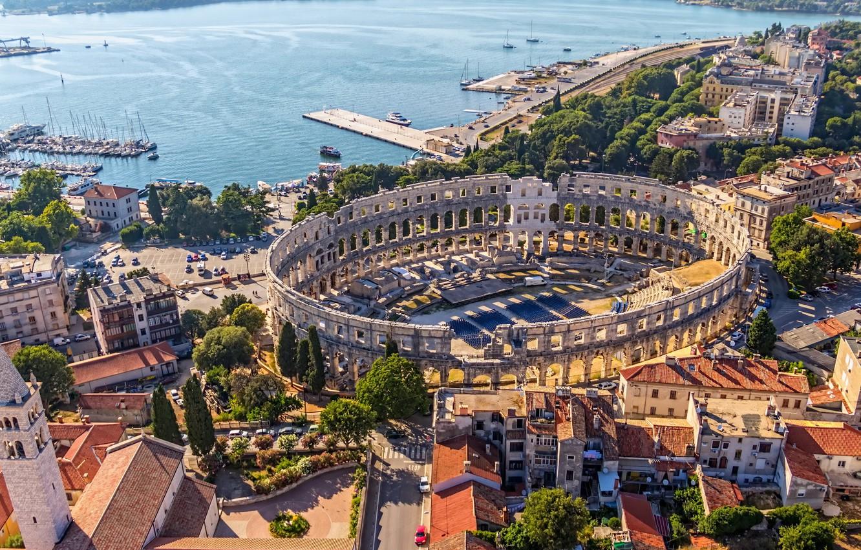 Photo wallpaper trees, road, home, pier, architecture, promenade, street, Croatia, Croatia, yacht., sities