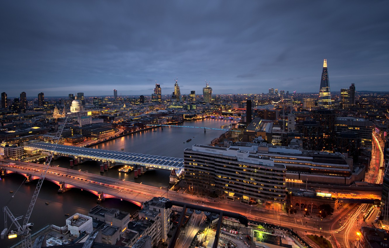 Photo wallpaper night, the city, lights, river, view, England, London, building, height, skyscrapers, excerpt, lighting, panorama, UK, …
