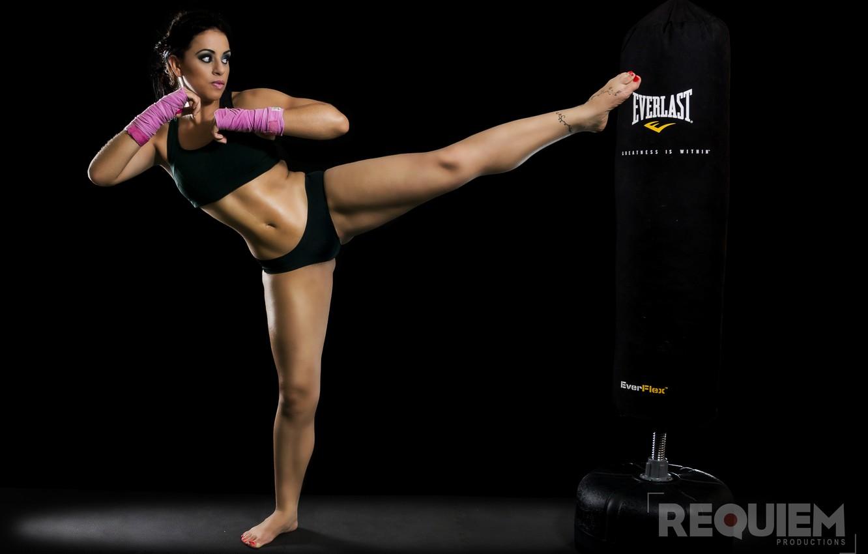 Photo wallpaper girl, workout, kick, kickboxing