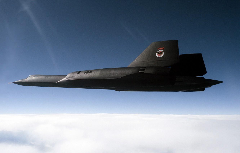 Photo wallpaper The sky, Clouds, Photo, Flight, Height, USA, BBC, Blackbird, Lockheed, SR-71, Supersonic, Strategic, Scout