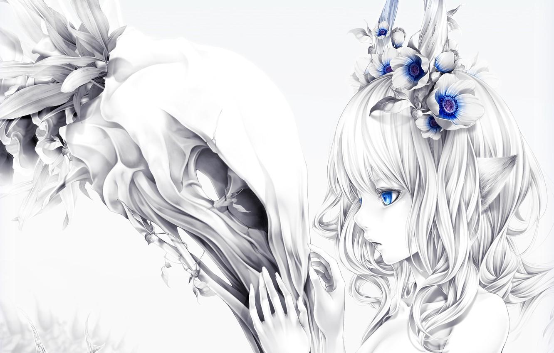 Photo wallpaper girl, flowers, skull, ears, art, bouno satoshi