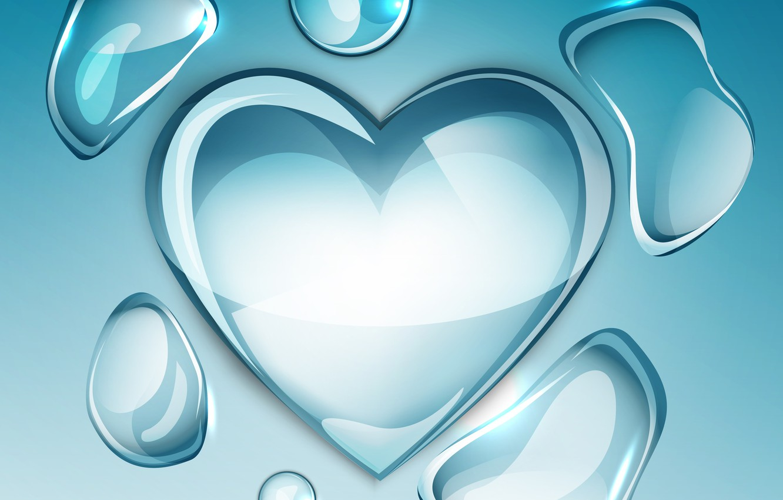 Photo wallpaper background, heart, water drop