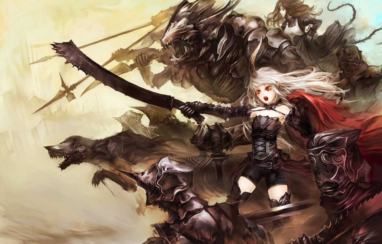 Photo wallpaper sword, horns, monster, armor, devil