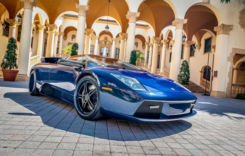 Photo wallpaper blue, reflection, tuning, Shine, columns, supercar, car, Palace, Lamborghini Murciélago