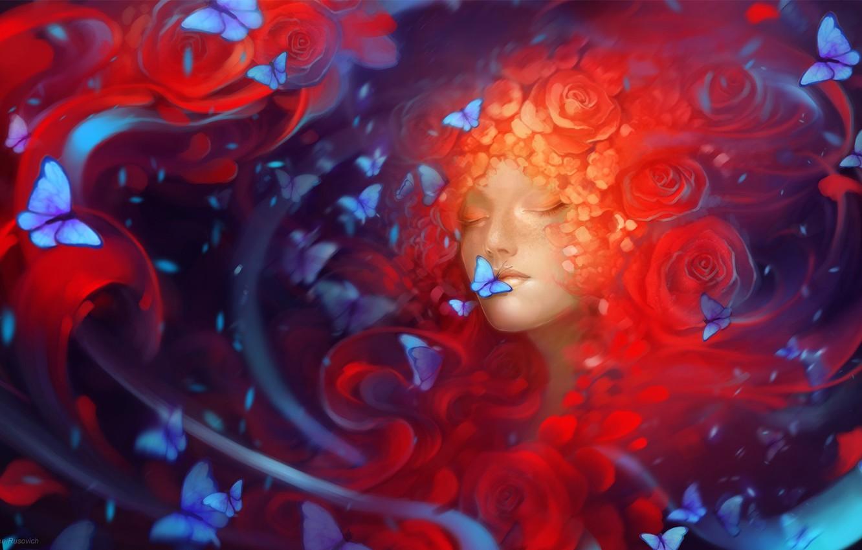 Photo wallpaper girl, butterfly, flowers, art, Helen Rusovich
