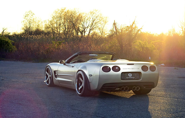 Photo wallpaper Corvette, Chevrolet, Glow, Sun, Style, Tuning, Road, Convertible, Wheels, Widebody