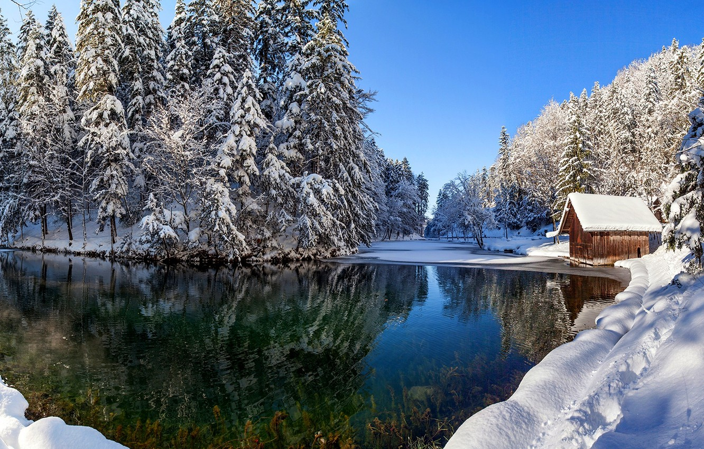 Photo wallpaper winter, the sky, snow, landscape, nature, house, reflection, river, house, white, white, river, sky, landscape, …