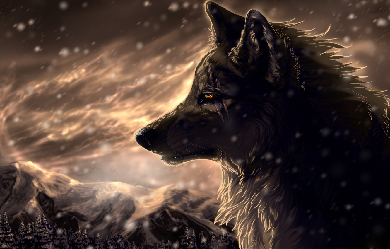 Photo wallpaper forest, snow, mountains, Wolf, Blizzard, art, scars, wolfroad, two steps from hell
