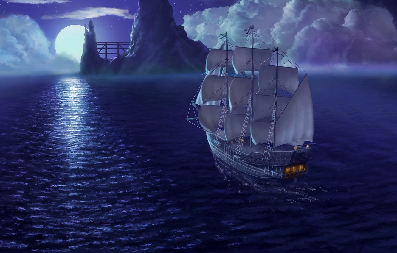 Photo wallpaper sea, the sky, night, rendering, the moon, ship, sails