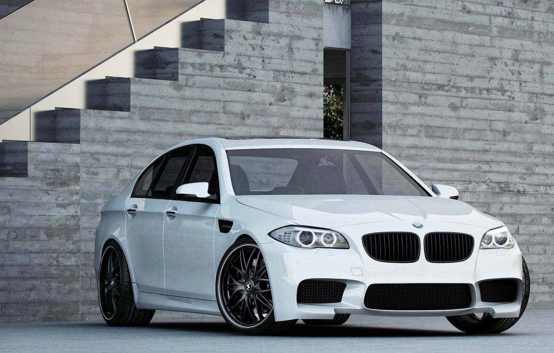 Photo wallpaper white, bmw, BMW, white, f10, daylight, the grey building, sports sedan