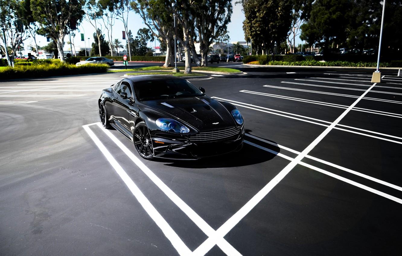 Photo wallpaper trees, black, Aston Martin, shadow, DBS, Parking, black, Aston Martin, DBS