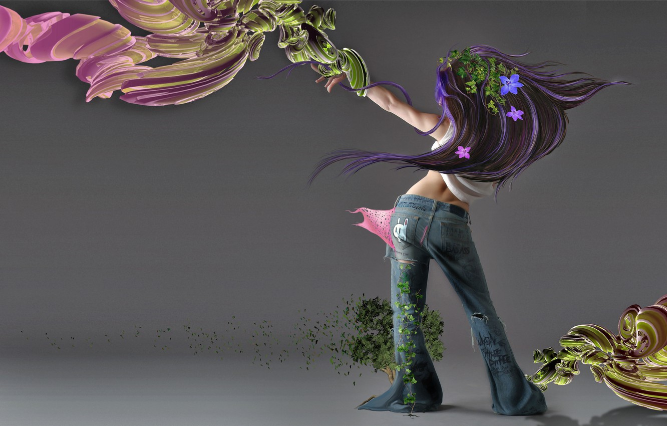 Photo wallpaper BACKGROUND, GIRL, JEANS, VIEW, BACK, FLOWERS